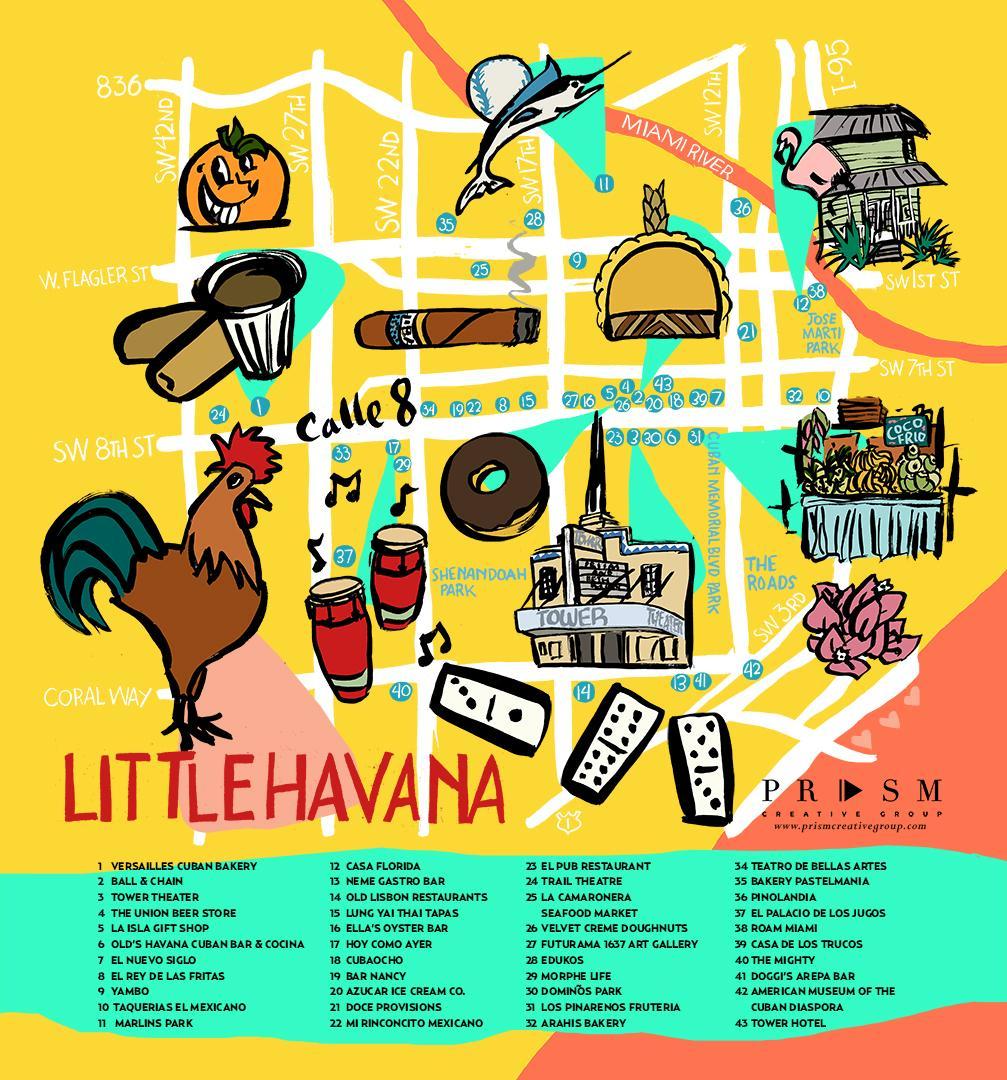 little havana, miami mapa de miami little havana mapa
